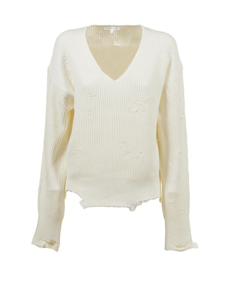 84b21a697aae Helmut Lang Distressed Cotton-Wool V-Neck Sweater - Ivorybone In White