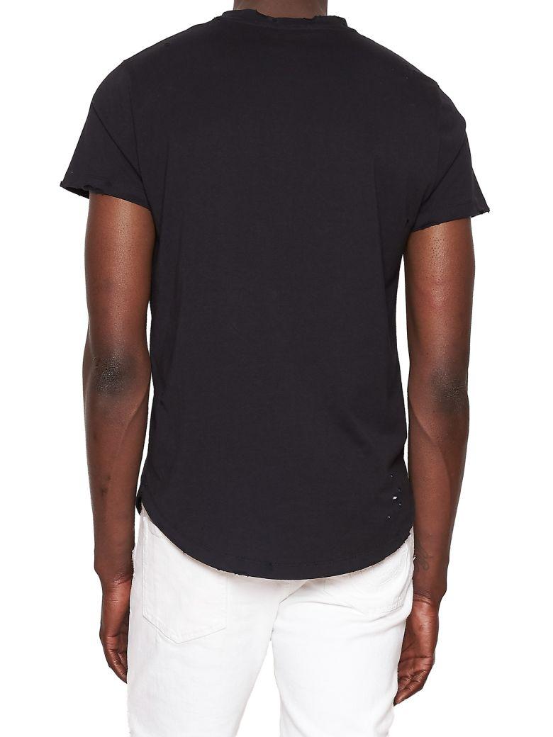 Circular Logo-Print Distressed Cotton T-Shirt, Black