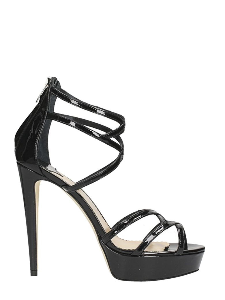 THE SELLER PLATEAU BLACK PATENT LEATHER SANDALS