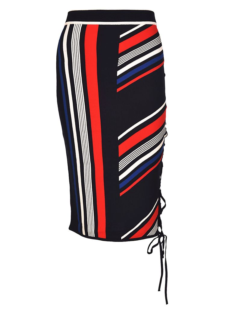 TOMMYXGIGI Lace-Up Striped Skirt in Midnight/Multi