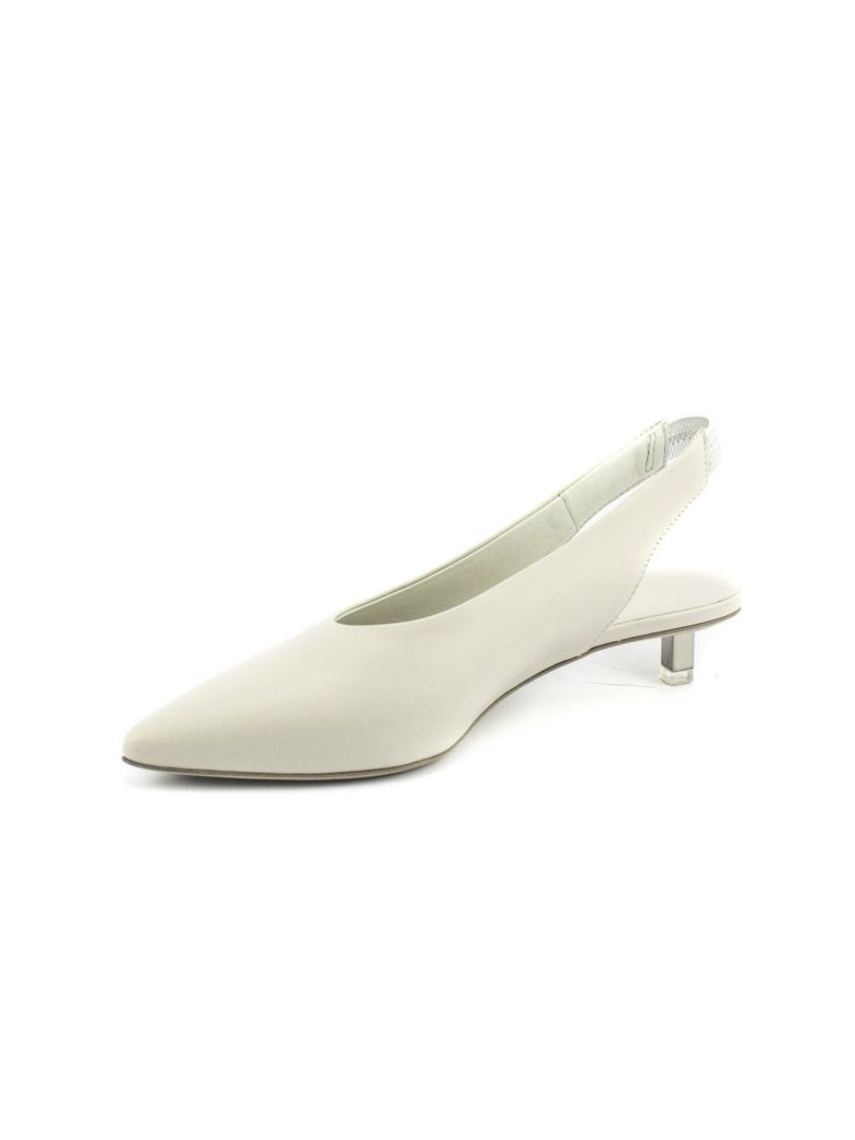 vic matiè White Leather Shoe With Steel Micro Heel Pictures Limited WhEgkD