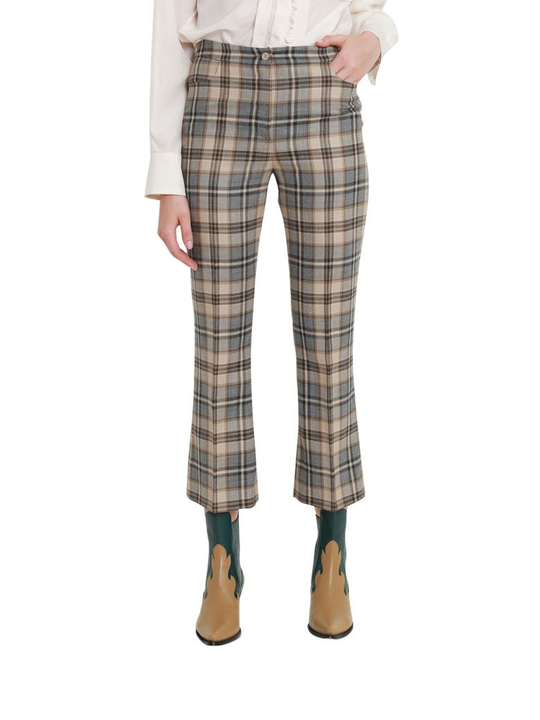 High Waist Checked Trousers in Brown