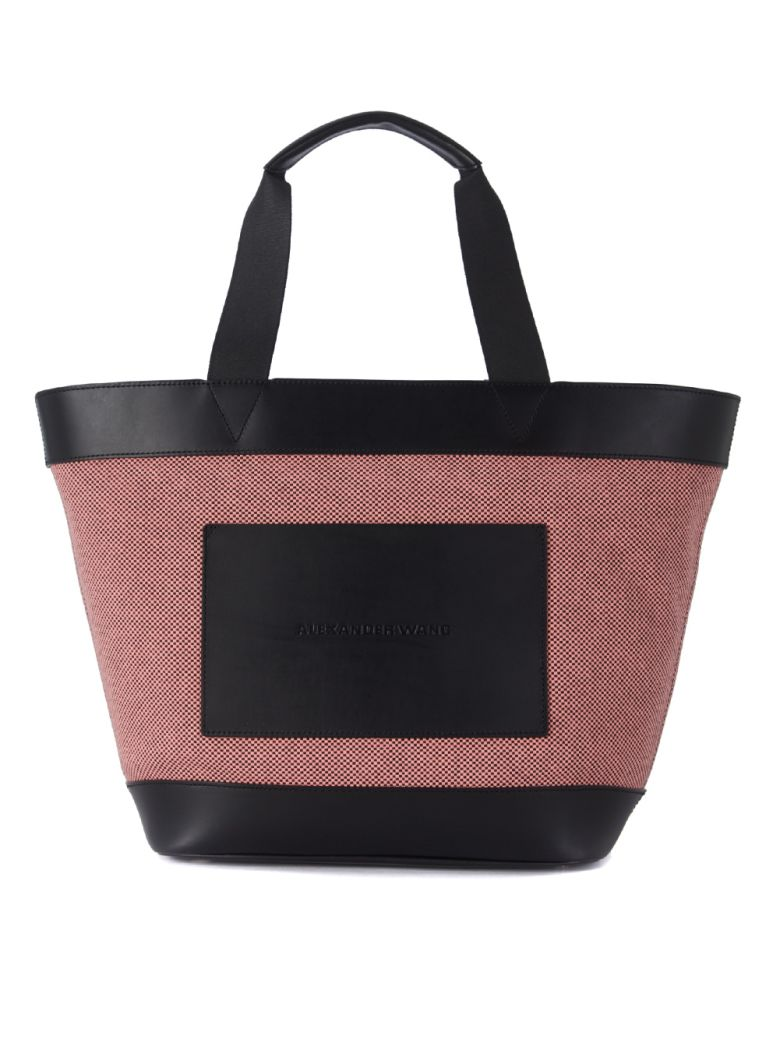 Woman Leather-Paneled Canvas Tote Bubblegum from yoox.com