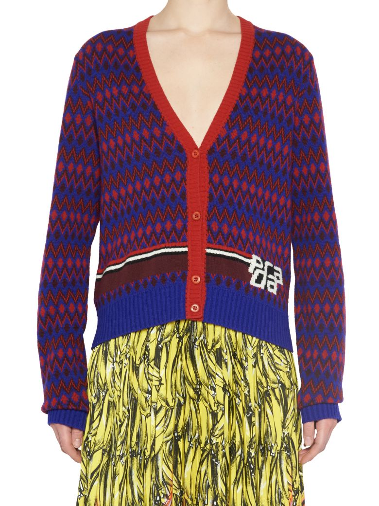 Logo-Intarsia Wool And Cashmere-Blend Cardigan, Purple