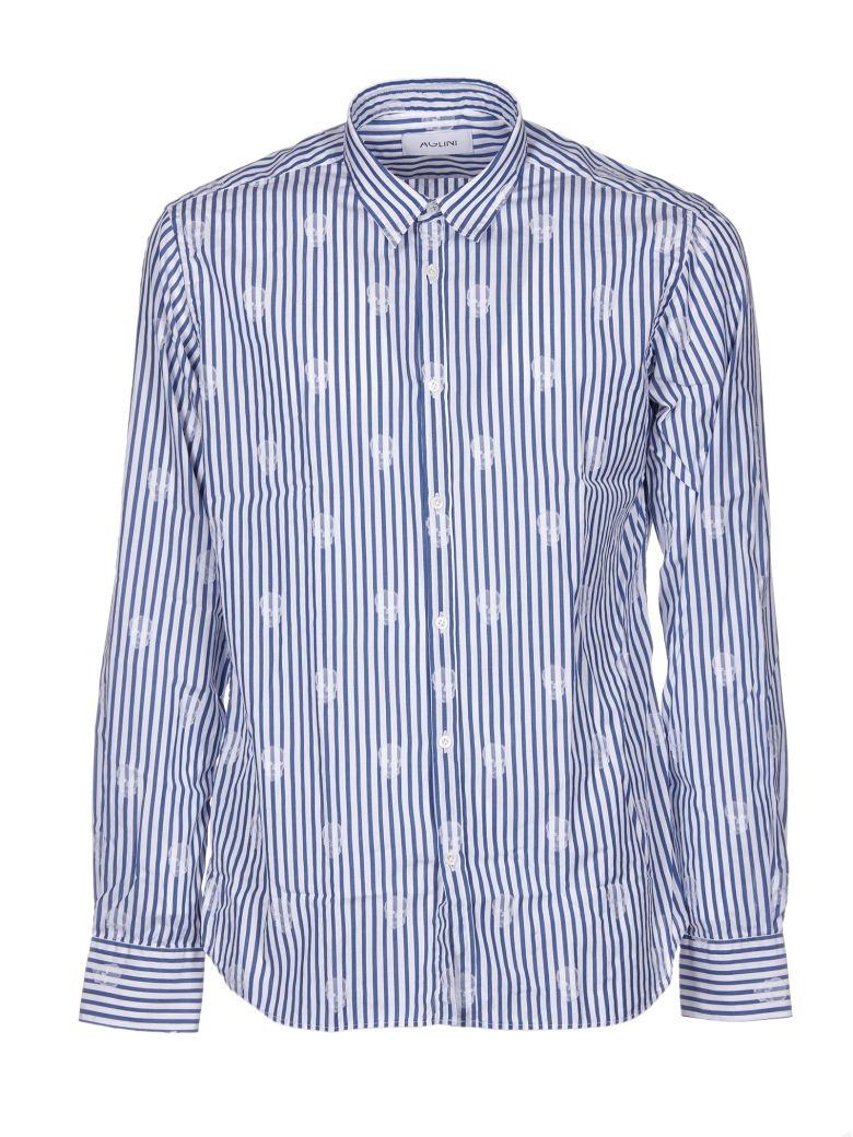 AGLINI Striped Skull Shirt in Blue/White