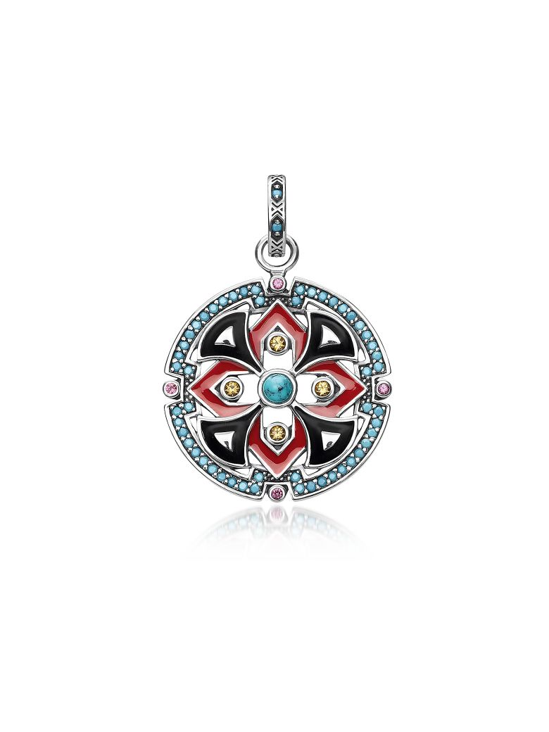 Thomas Sabo Black And Red Enamelled Sterling Silver Round Pendant W/Synthetic Turquoise And Red Coru