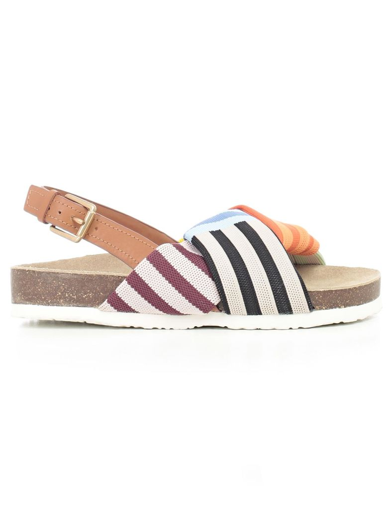 Tory Burch Designer Shoes, Corey Multi Patchwork Stripe Tech Knit Fabric and Leather Flatform Sandals