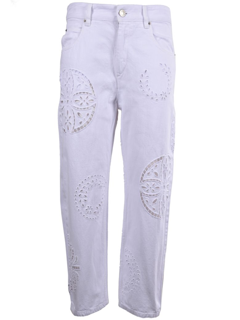 Ronny broderie anglaise-trimmed high-rise straight-leg jeans