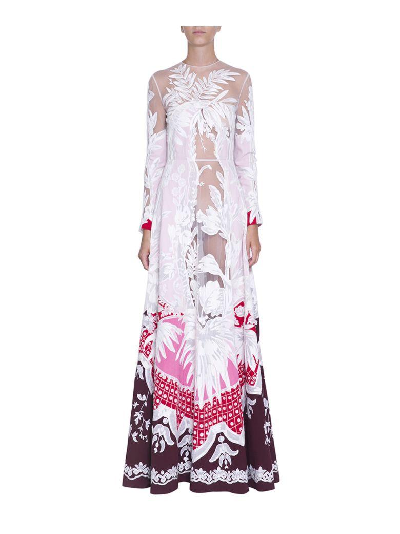 Valentino Silk And Tulle Embroidere Dress - Multicolor