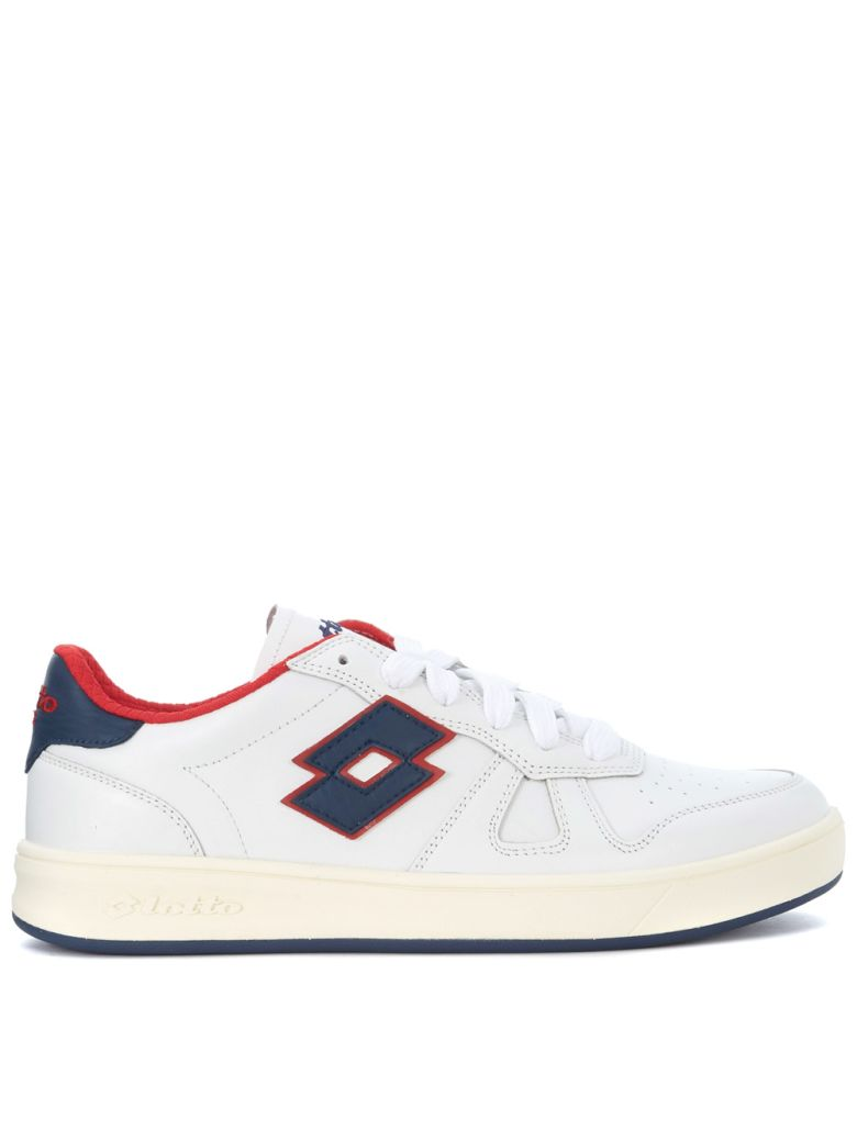 LOTTO LEGGENDA Signature White, Blue And Red Leather Sneaker in Bianco