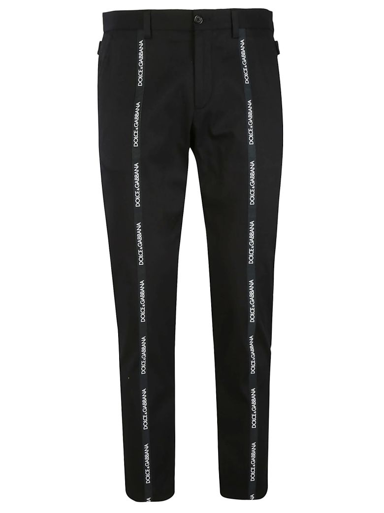 DOLCE & GABBANA Dolce And Gabbana Black Front Logo Trousers