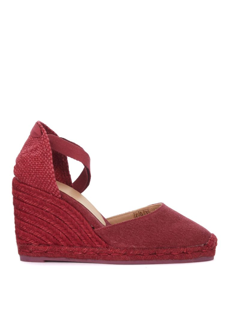 CARINA NATURAL JUTE AND CHERRY RED WEDGE SANDAL