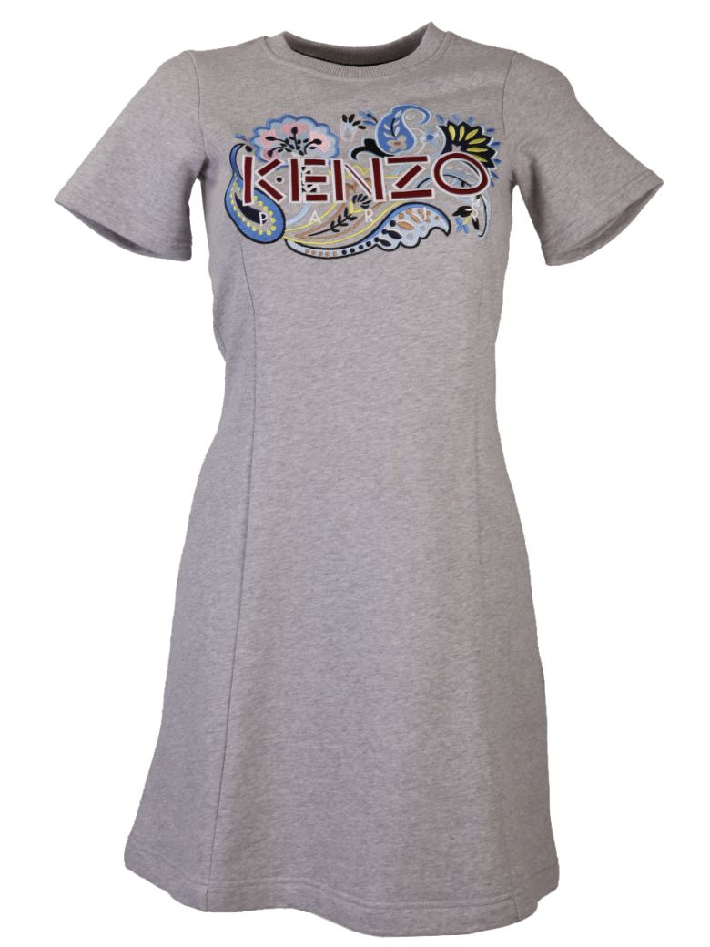 GREY DRESS WITH EMBROIDERED LOGO