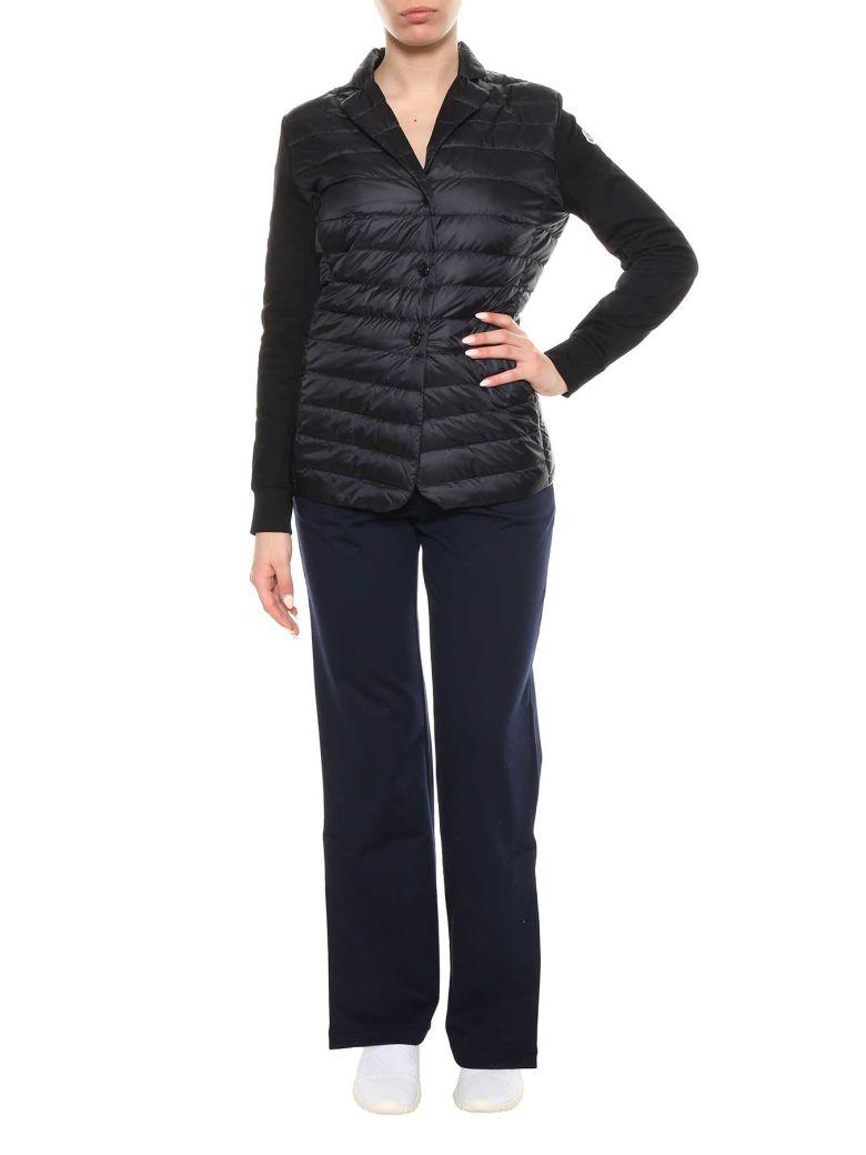 Puffer Cardigan W/ Knit Sleeves in Black