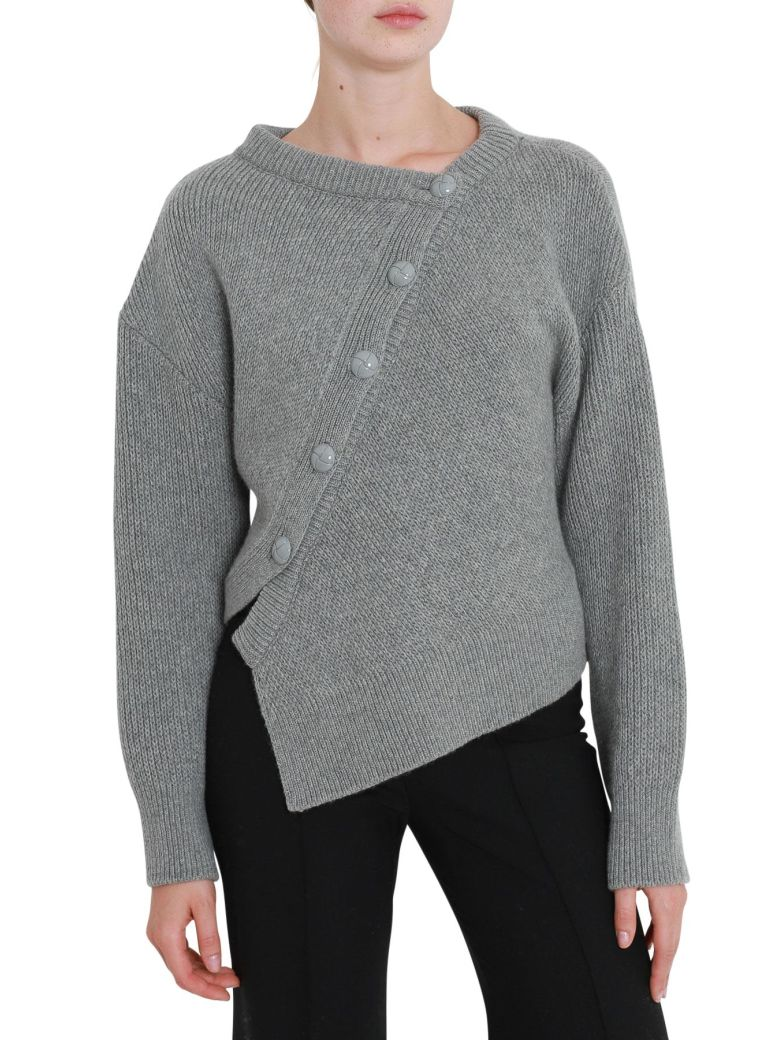 Asymmetric Button Front Jumper in Grey
