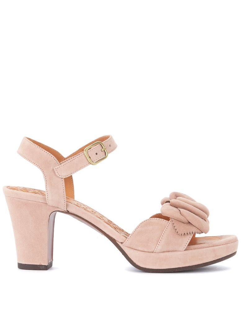 BLOSSOM NUDE SUEDE HEELED SANDAL WITH FLOWER