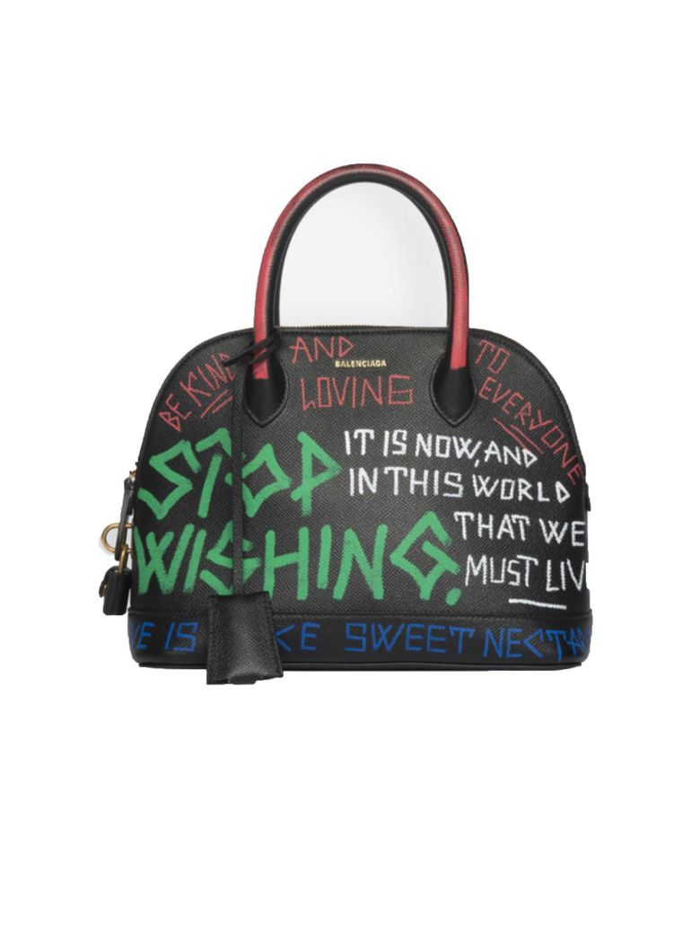 Ville Graffiti Small Printed Textured-Leather Tote in Black
