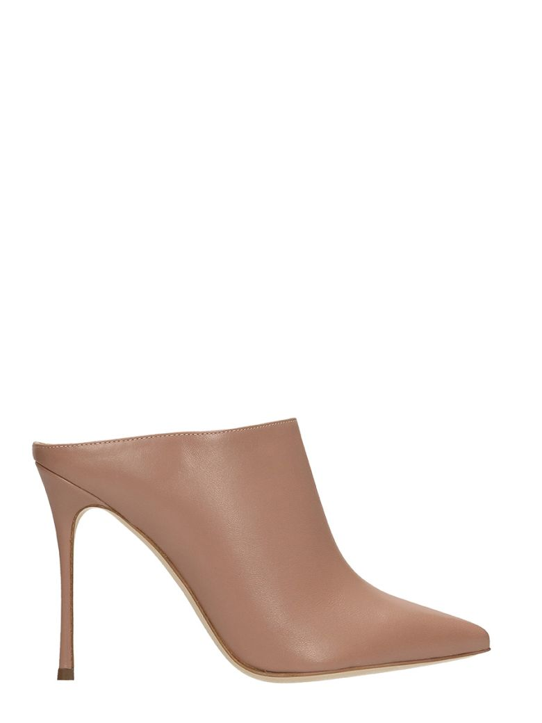 """Godiva"" Mule In Beige Leather, Rose-Pink"