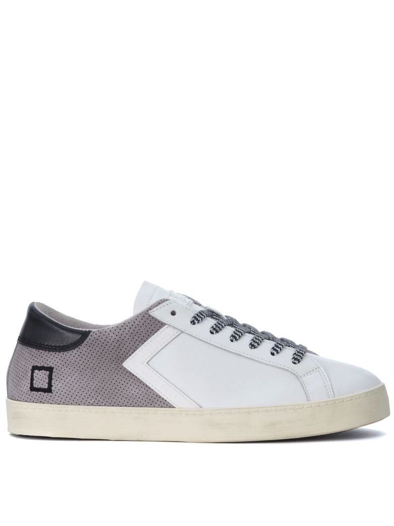D.A.T.E. HILL LOW HALF WHITE LEATHER AND GREY SUEDE SNEAKER