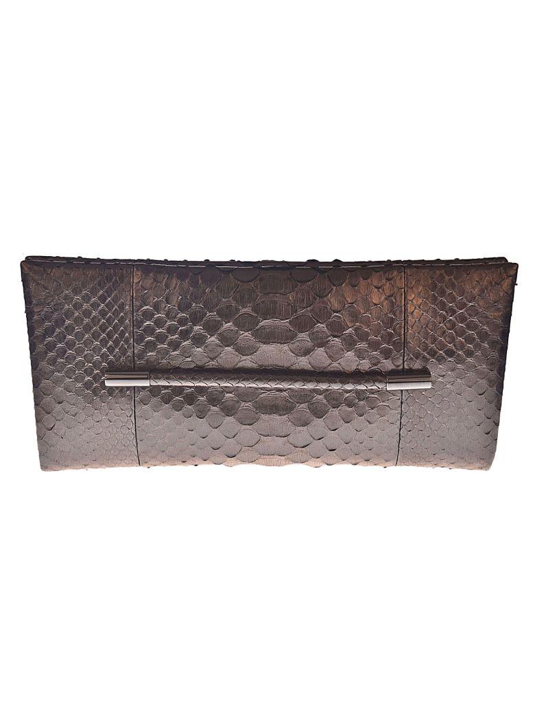 Snakeskin Effect Clutch in Grey