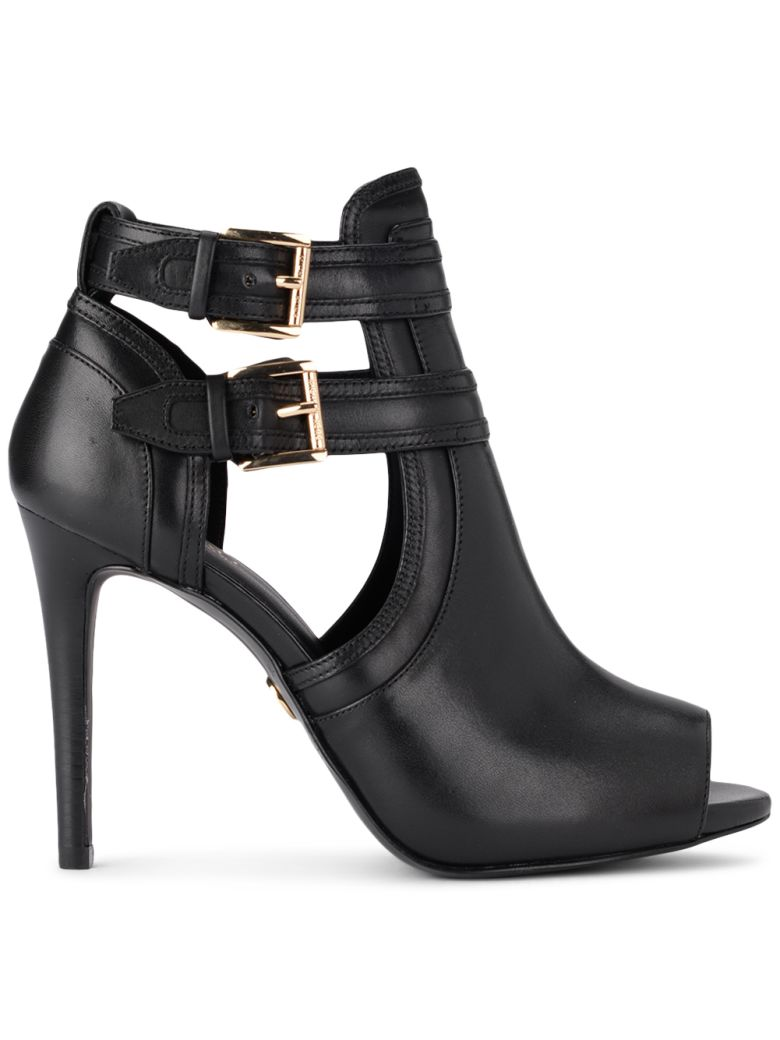 BLAZE BLACK LEATHER ANKLE BOOTS WITH BUCKLES