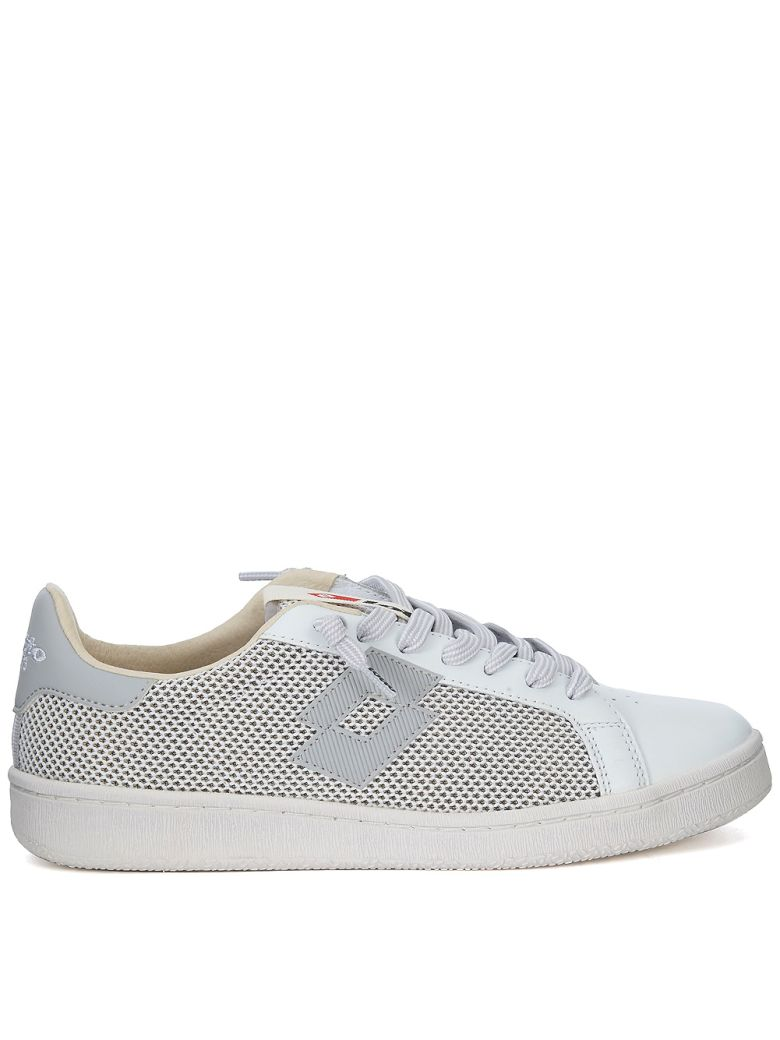LOTTO LEGGENDA Autograph White And Grey Leather And Mesh Sneaker in Bianco