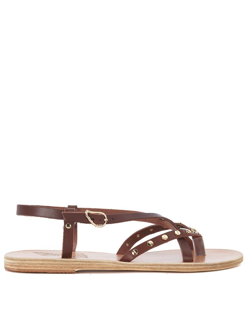 SEMELE BRWON LEATHER SANDAL WITH STUDS