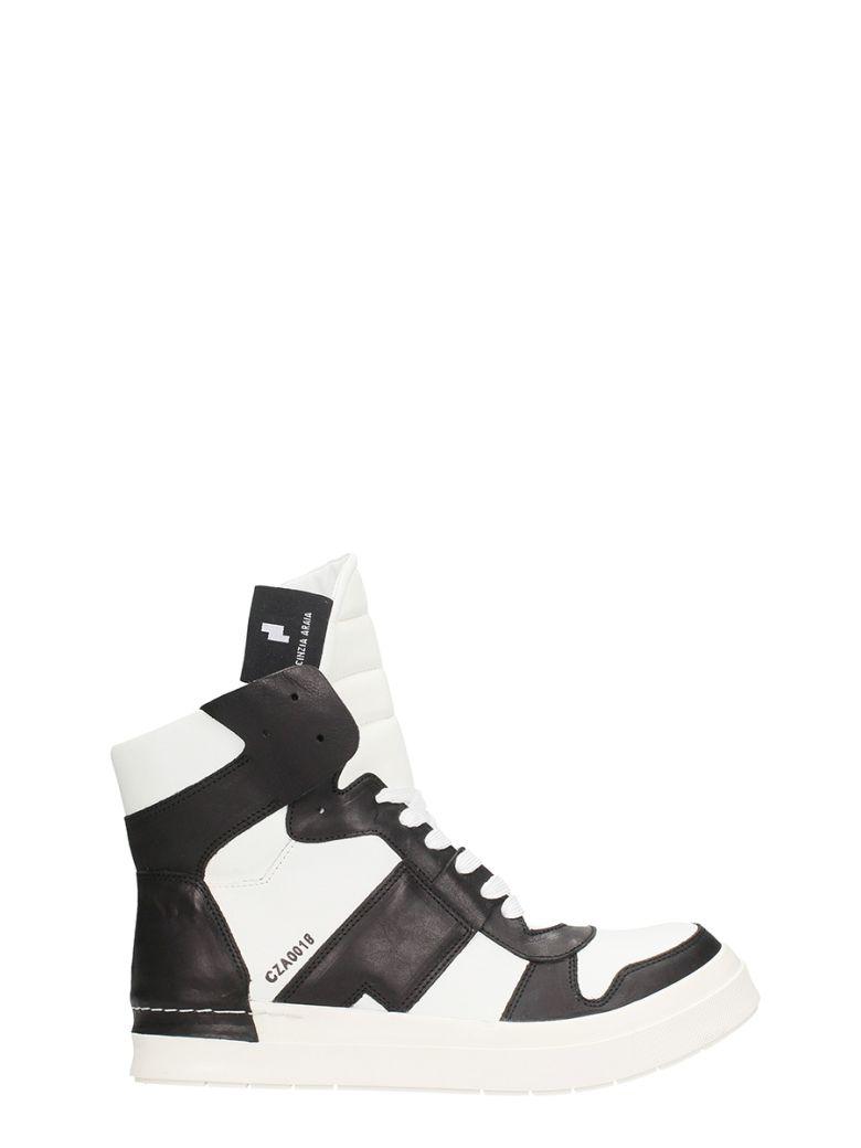 CINZIA ARAIA BLACK-WHITE LEATHER SNEAKERS