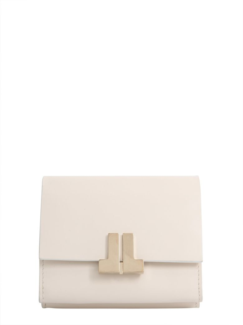 LANVIN Continental Wallet With Logo Plate, Bianco