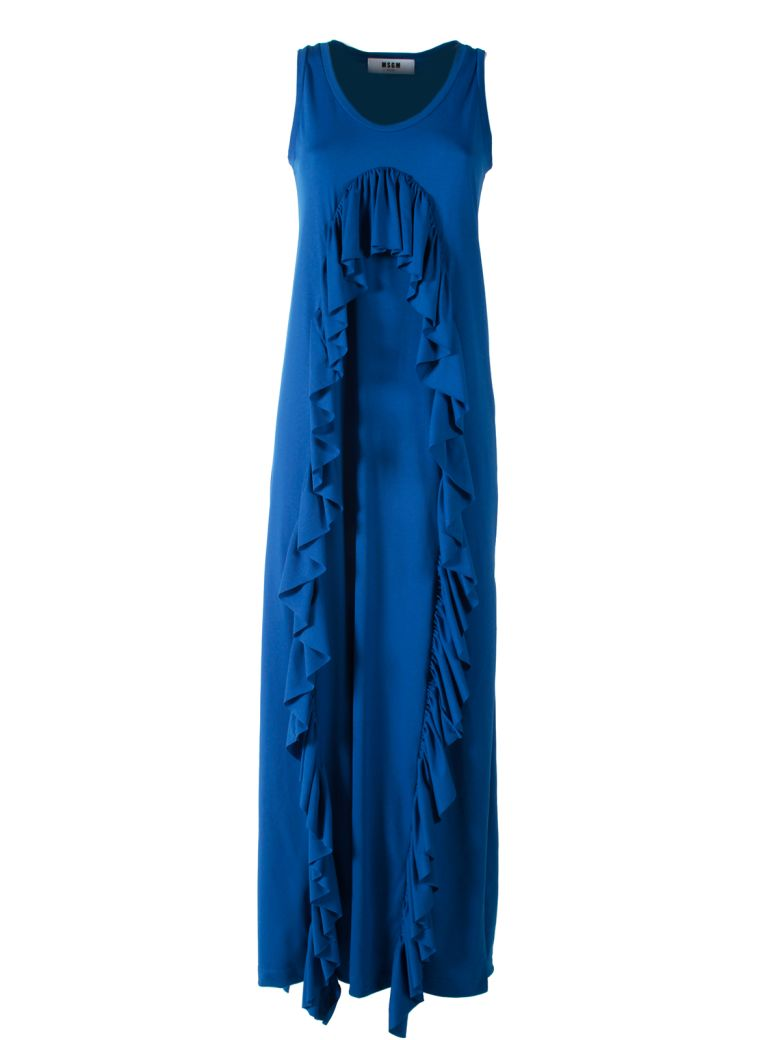 FLUTED RUFFLES COTTON-BLEND MAXI DRESS