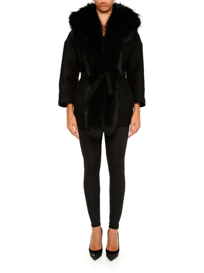 AVA ADORE BOILED WOOL COAT WITH FUR