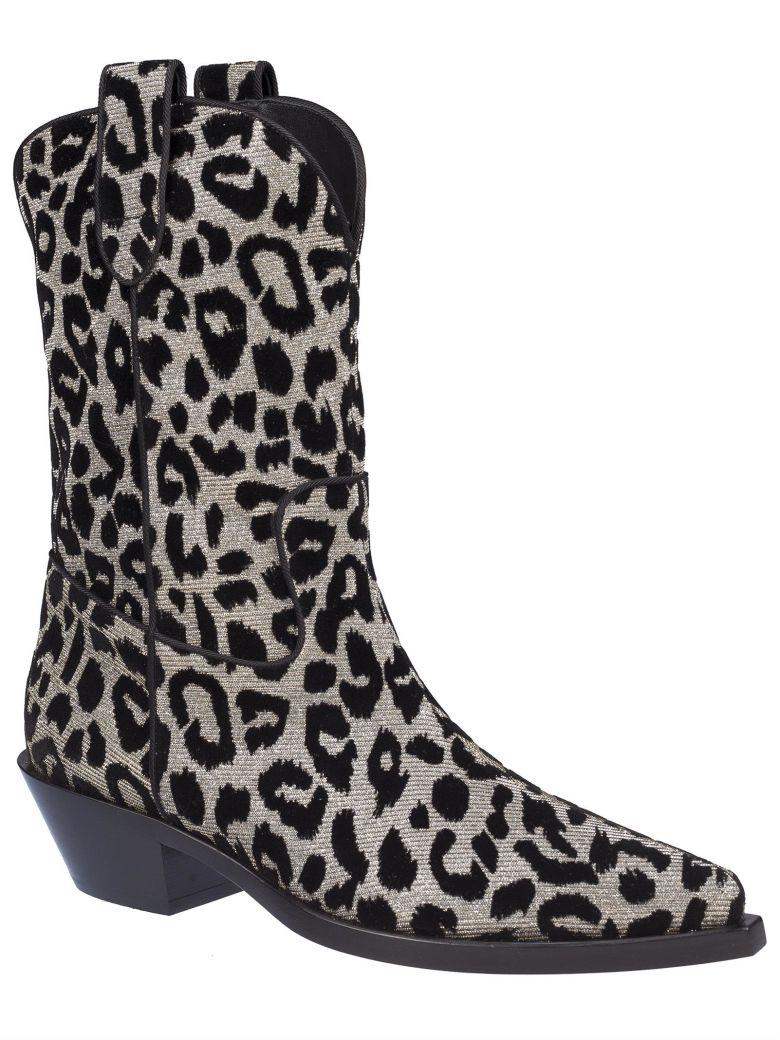 713b1949aa41 Shop Dolce & Gabbana Texan 40 Leopard Cowboy Boots In Argento/Nero
