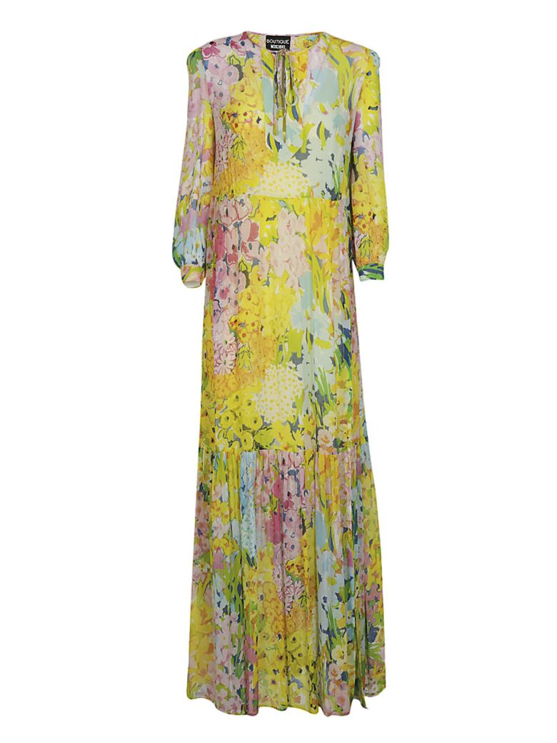 Floral Long Dress, Giallo-Rosa-Acqua