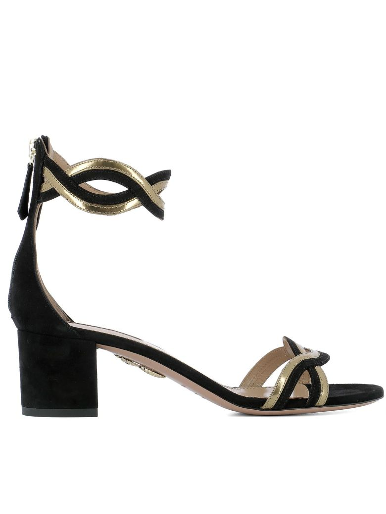 Aquazzura Black Leather Sandals - Black