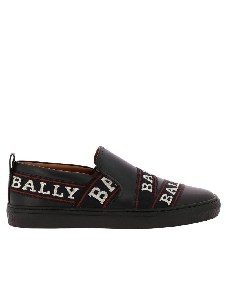 BALLY Logo Stripe Sneakers in Black
