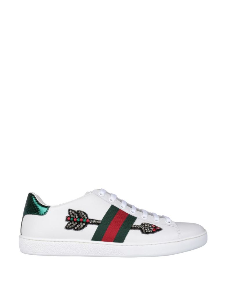 499f2c33fca Gucci Ace Watersnake-Trimmed Crystal-Embellished Leather Sneakers In White