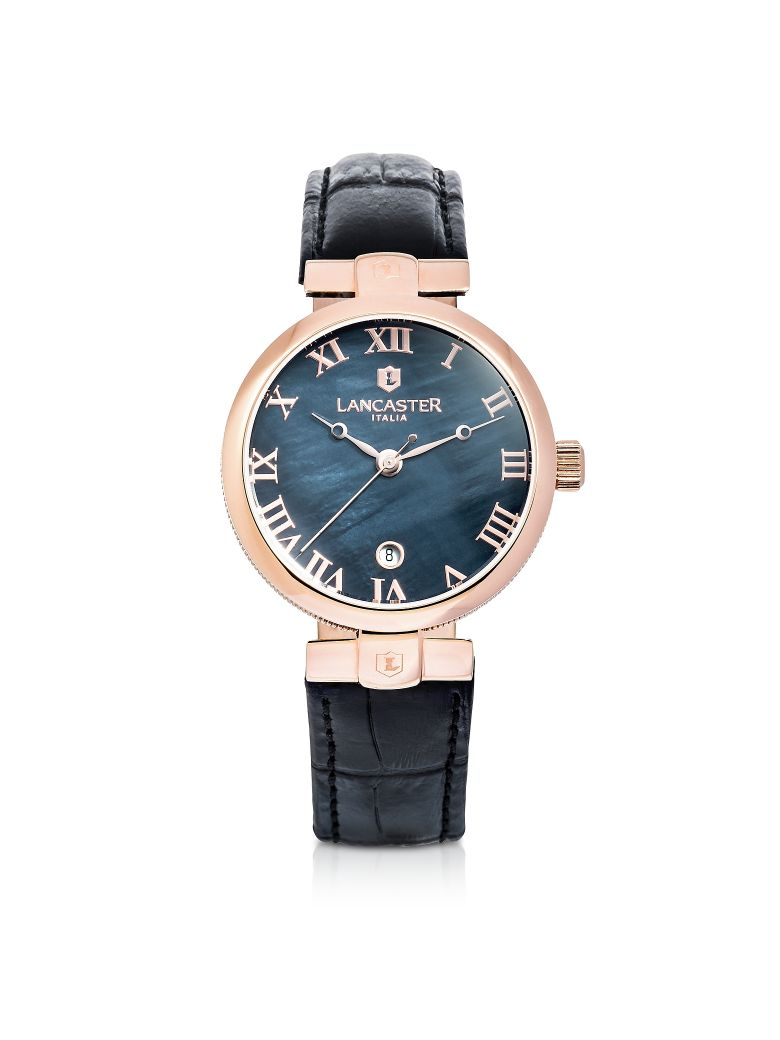 LANCASTER CHIMAERA ROSE GOLD STAINLESS STEEL AND BLACK CROCO LEATHER WATCH