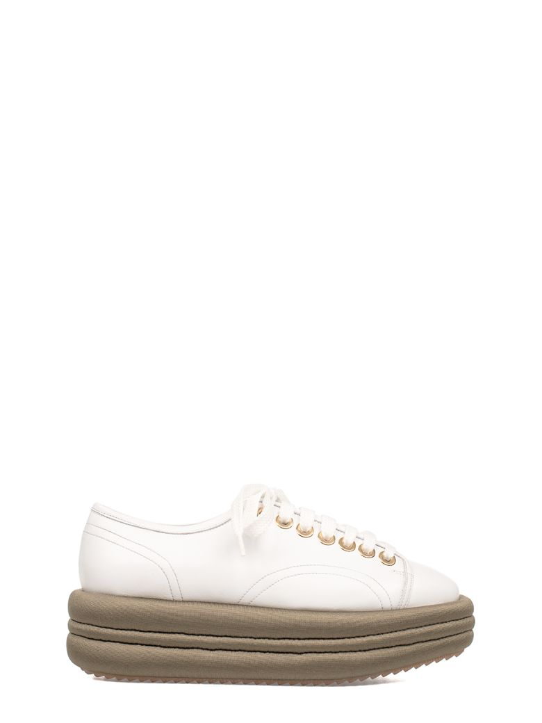 WHITE-ARMY GREEN LEATHER WEDGE SNEAKERS