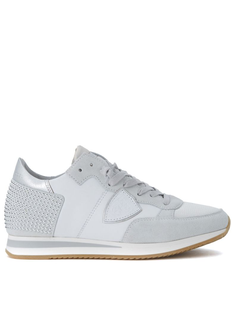 TROPEZ WHITE LEATHER AND SUEDE SNEAKER WITH MICRO STUDS