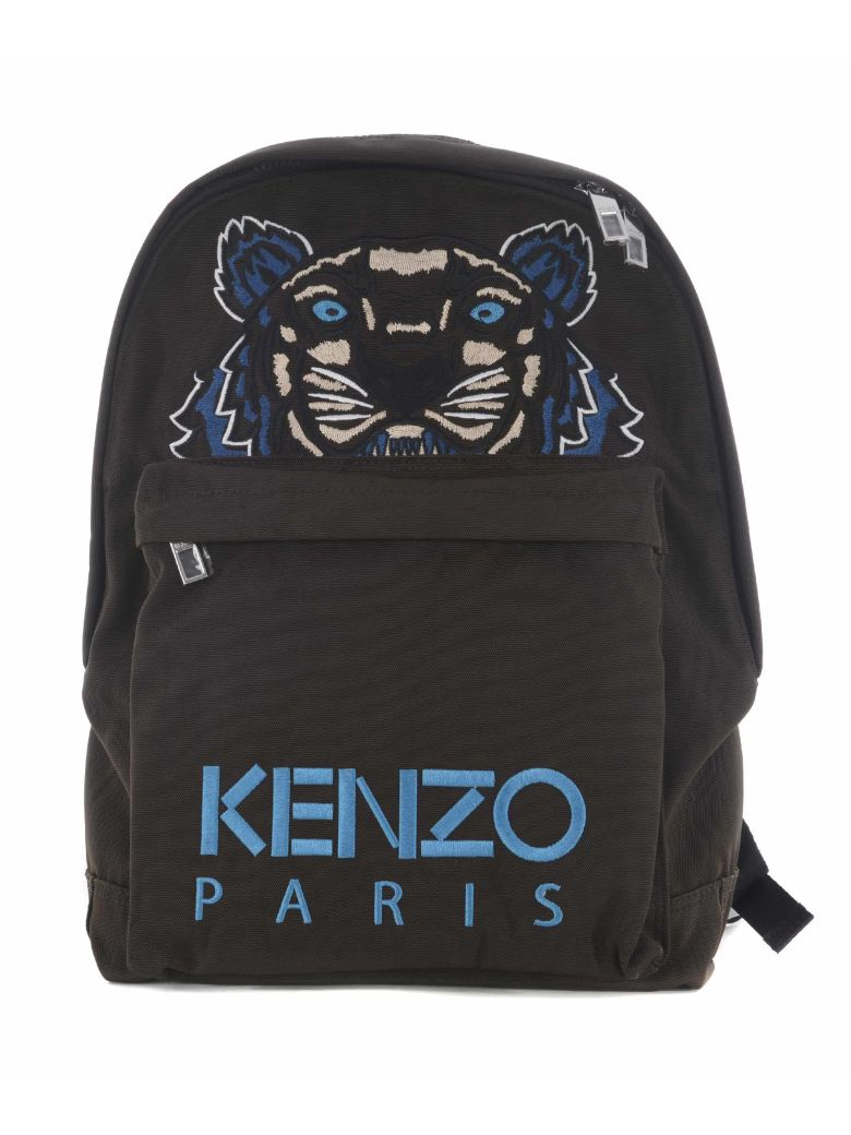 KENZO Tiger Embroidered Nylon Canvas Backpack in Black