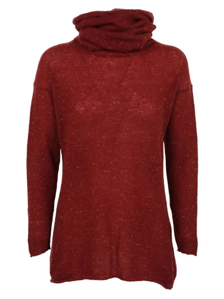 F CASHMERE F Cashmere Gathered Neck Sweater in Ruby
