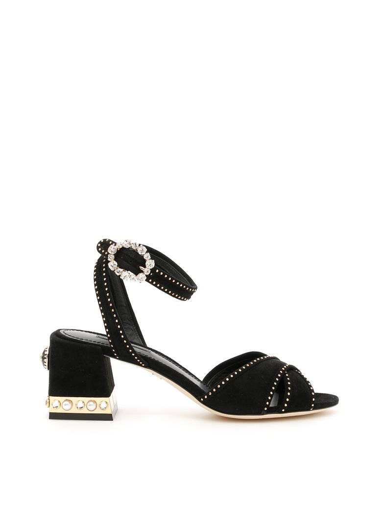 Dolce E Gabbana Women'S  Black Leather Sandals in Black Multi