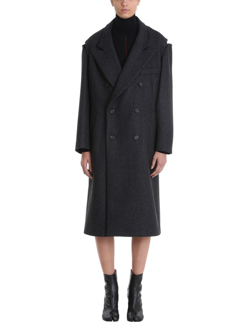 Wool-Blend Coat With Zipped Shoulders in Grey