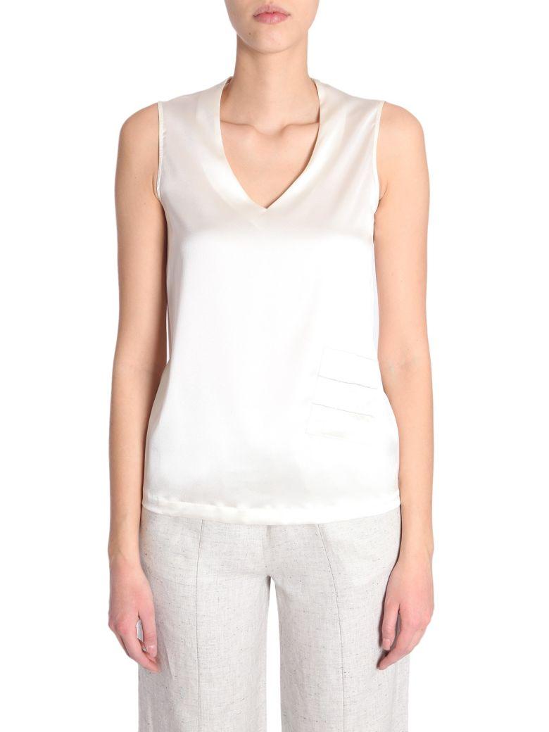 V Collar Top in White