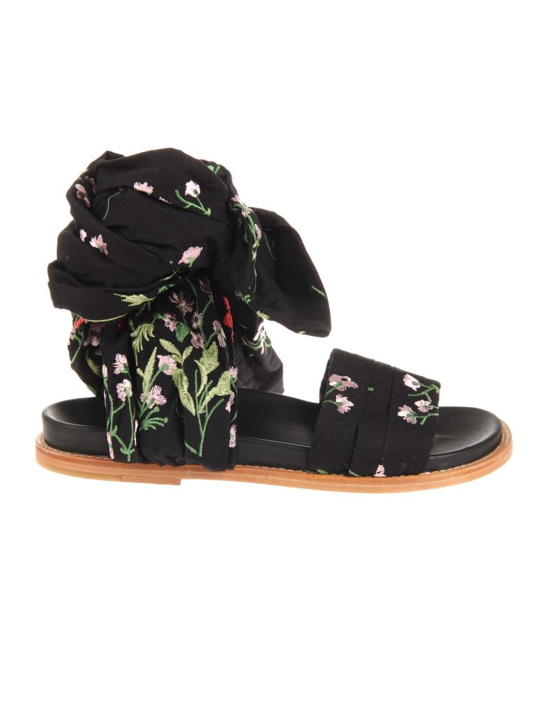 MARQUESALMEIDA FLORAL EMBROIDERED FLAT WRAP SANDALS