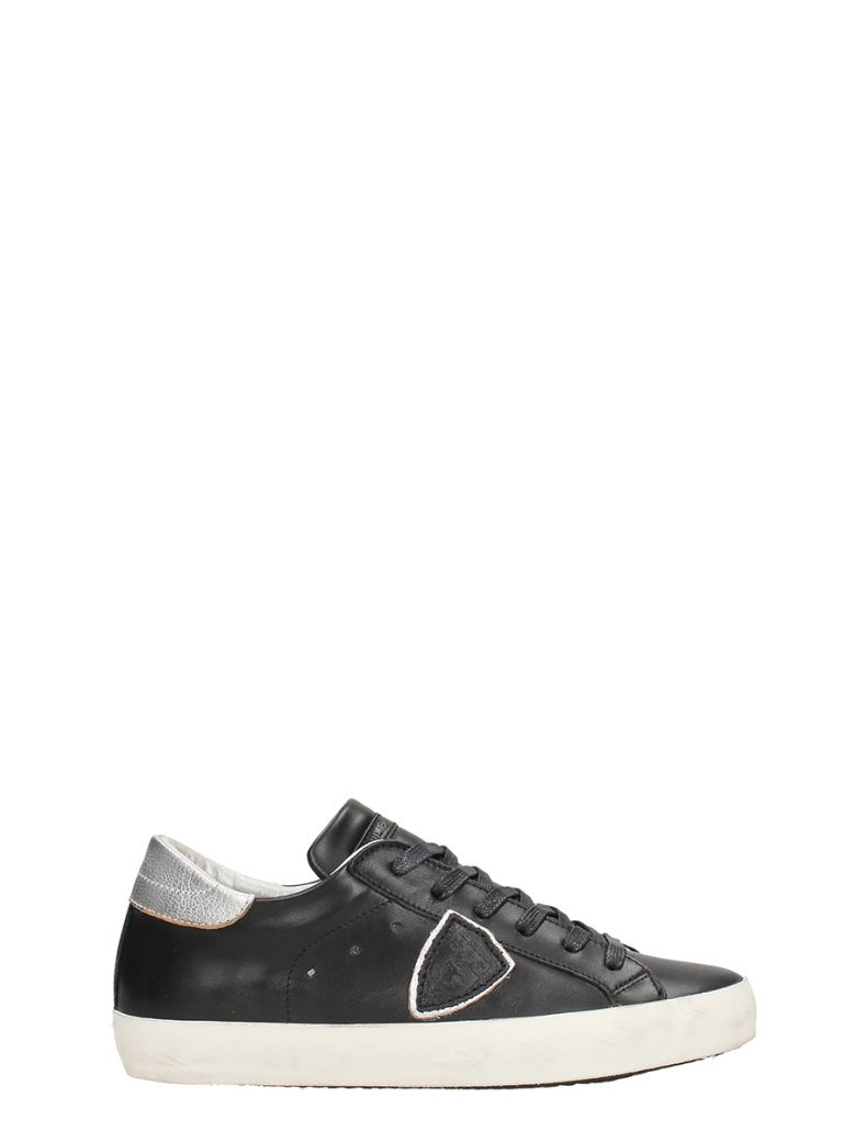 Paris Black Silver Leather Sneakers