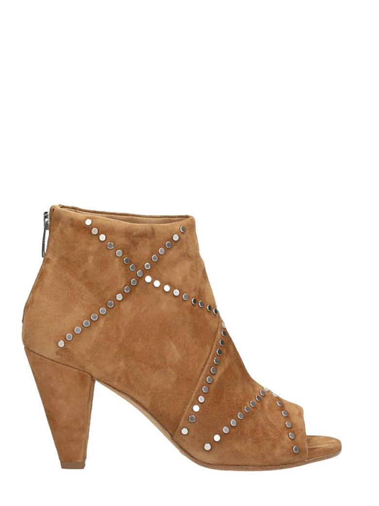 JANET & JANET BROWN SUEDE ANKLE BOOTS SILVER STUDS APPLICATION
