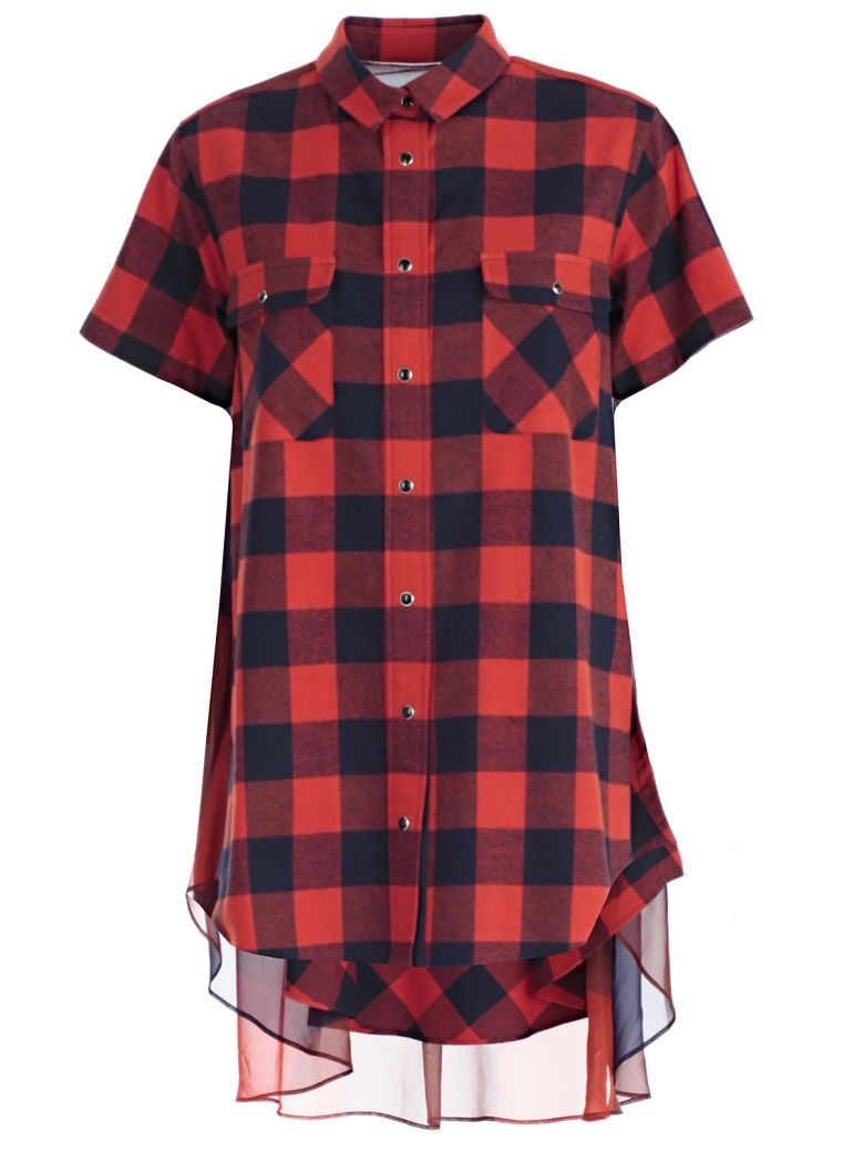 SHEER PANEL PLAID SHIRT