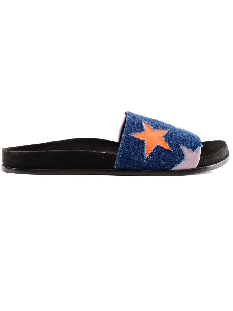 Blue & Black Denim Star Slides, Navy