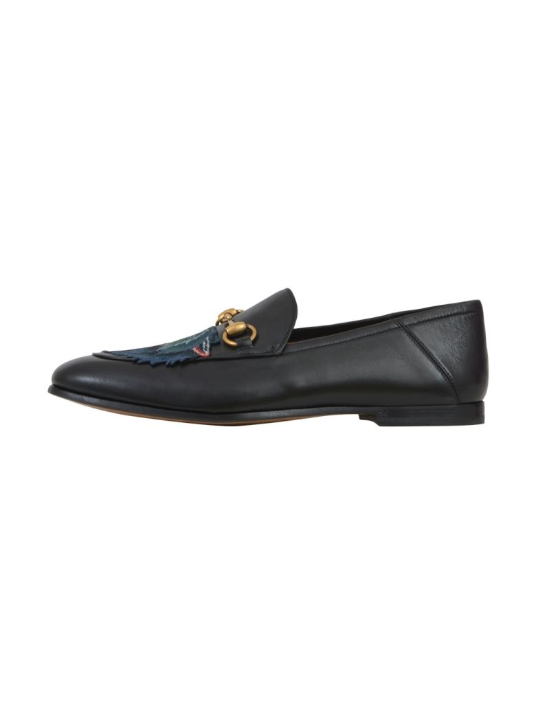 Black Leather Loafer With Embroidered Wolf Head